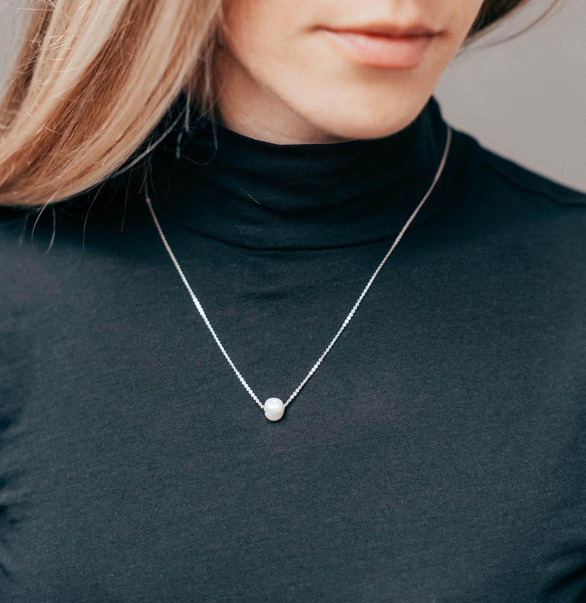 Mini Baroque Pearl Necklace in Sterling Silver
