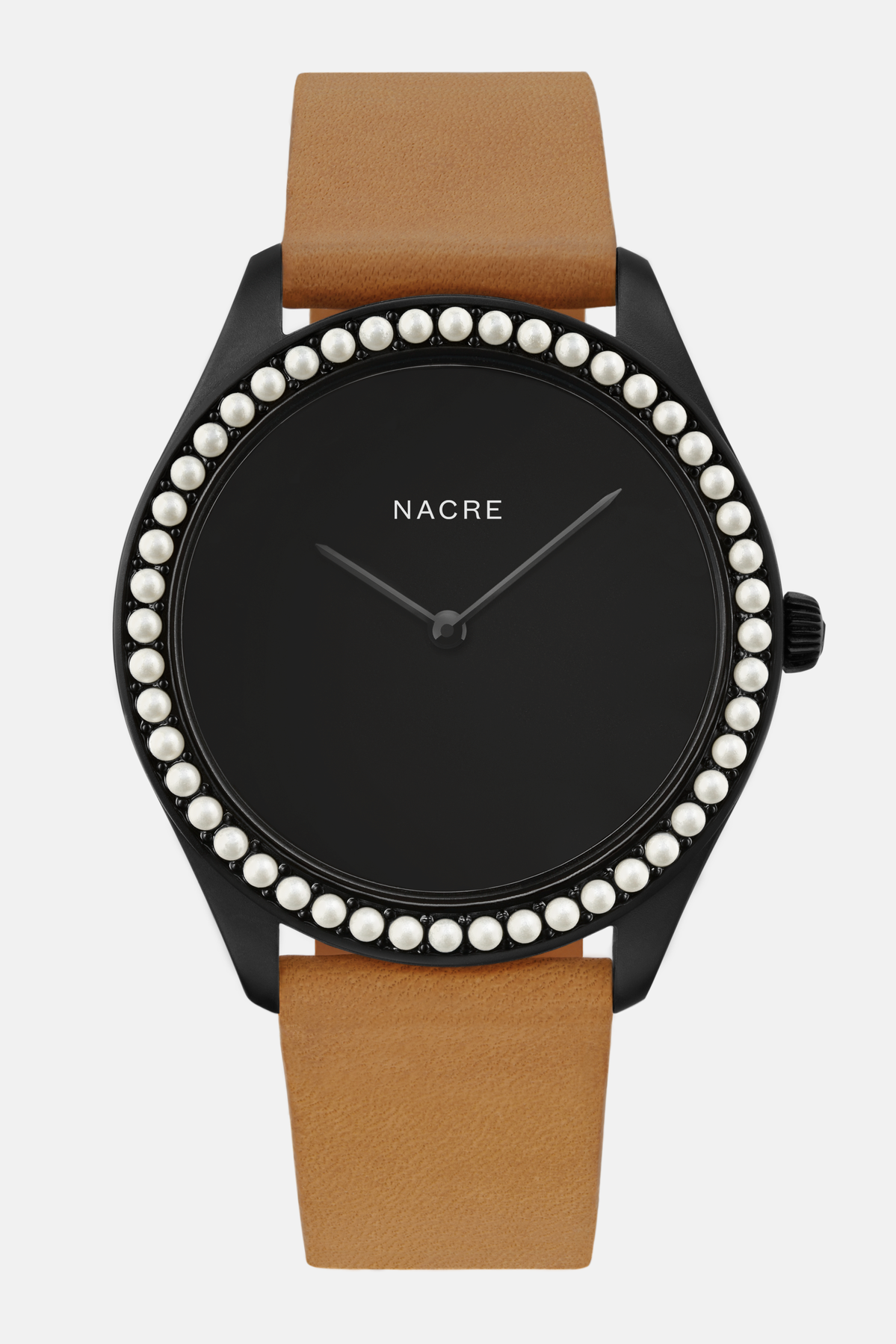 Lune 48 - Matte Black - Natural Leather