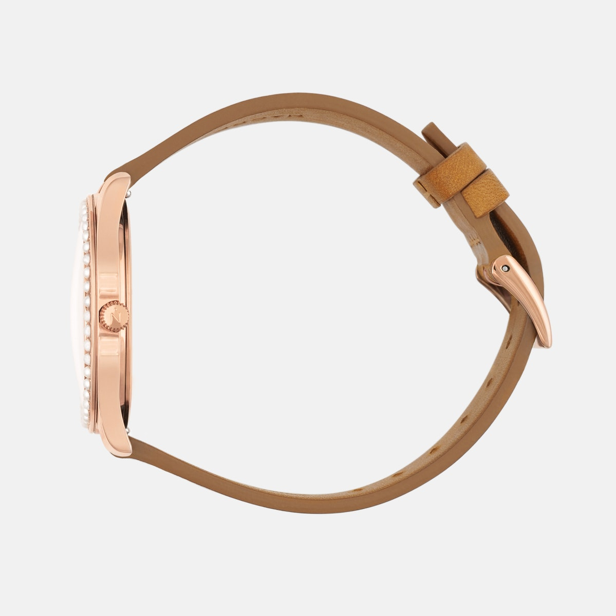Lune 48 - Rose Gold - Saddle Leather