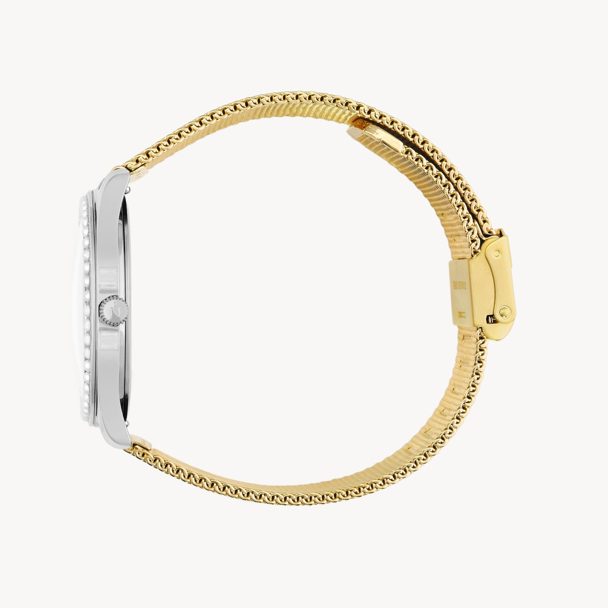 Lune 48 - Stainless Steel - Gold Mesh