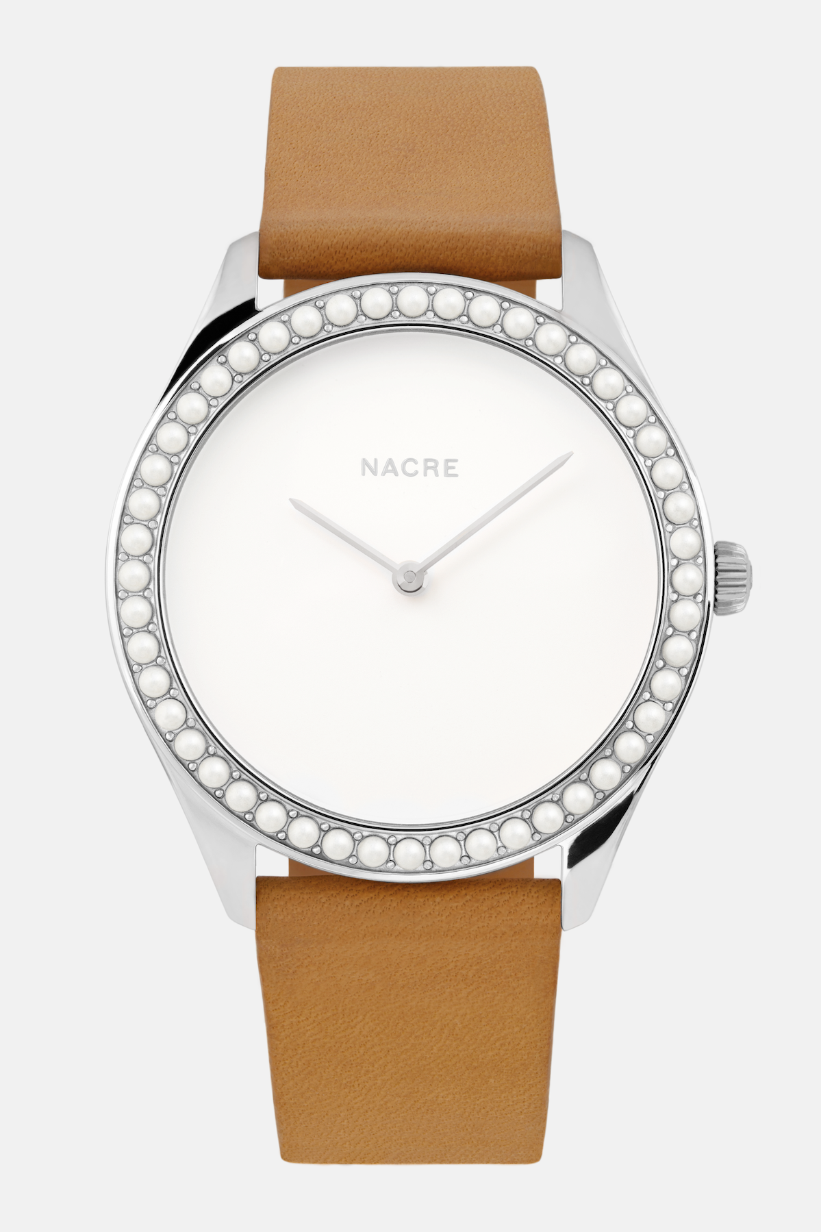 Lune 48 - Stainless Steel - Natural Leather