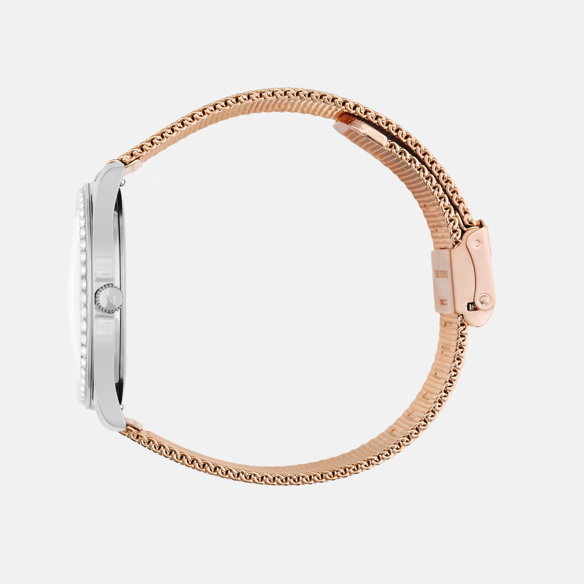 Lune 48 - Stainless Steel - Rose Gold Mesh