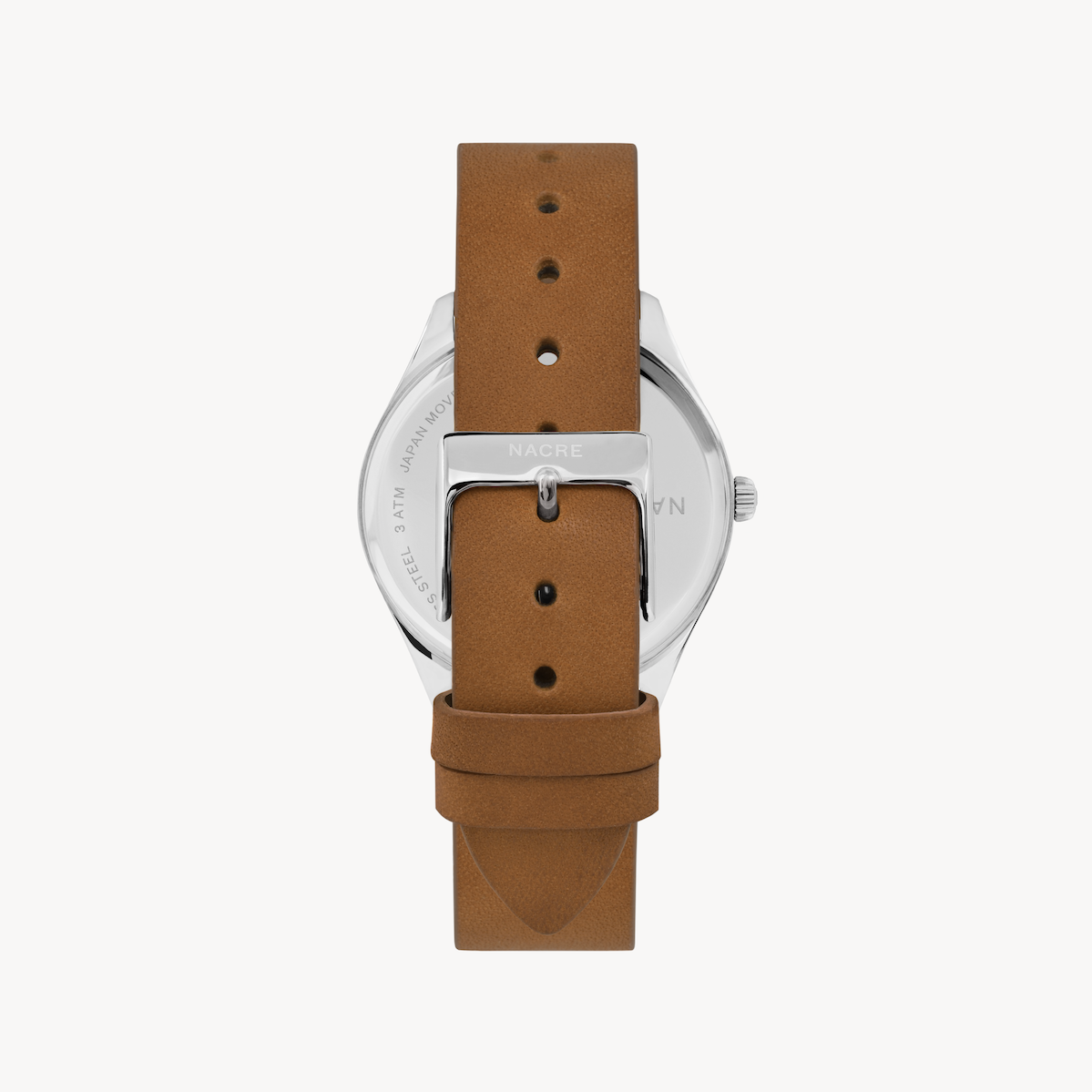 Lune 48 - Stainless Steel - Saddle Leather