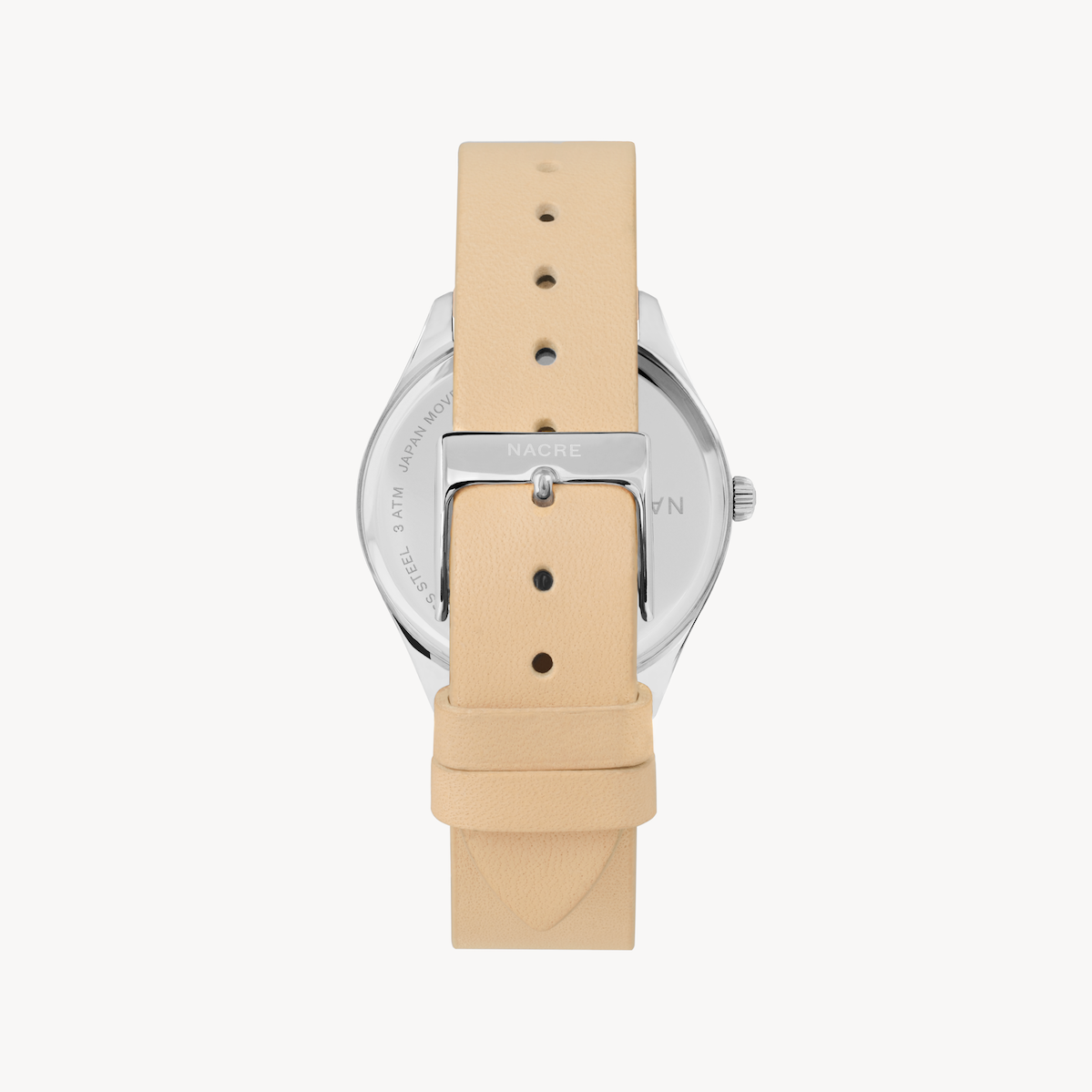 Lune 48 - Stainless Steel - Sand Leather