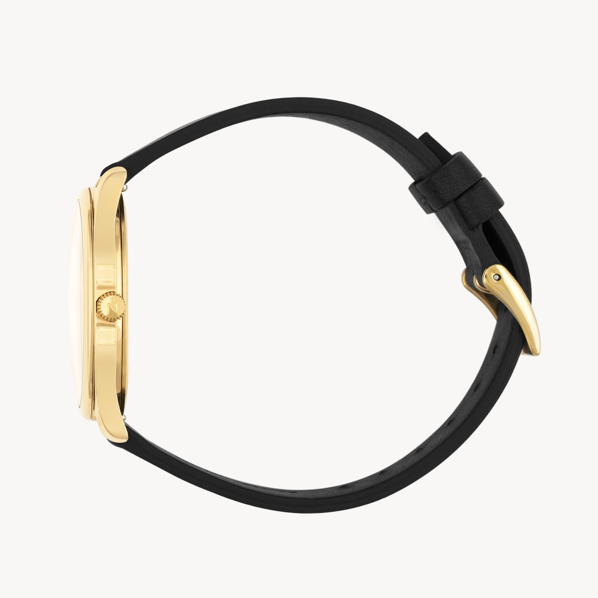 Lune 8 - Gold - Black Leather