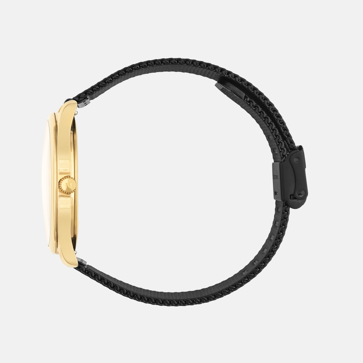 Lune 8 - Gold and White - Black Leather