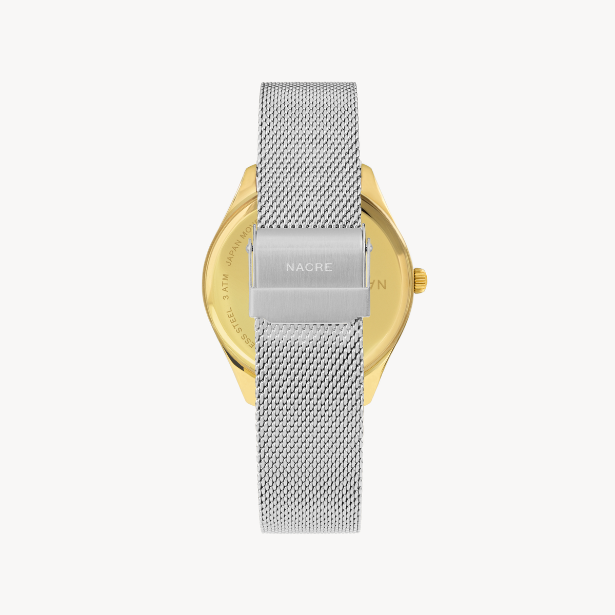 Lune 8 - Gold and White - Stainless Steel Mesh