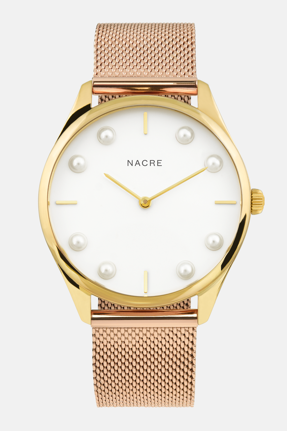 Lune 8 - Gold and White - Rose Gold Mesh