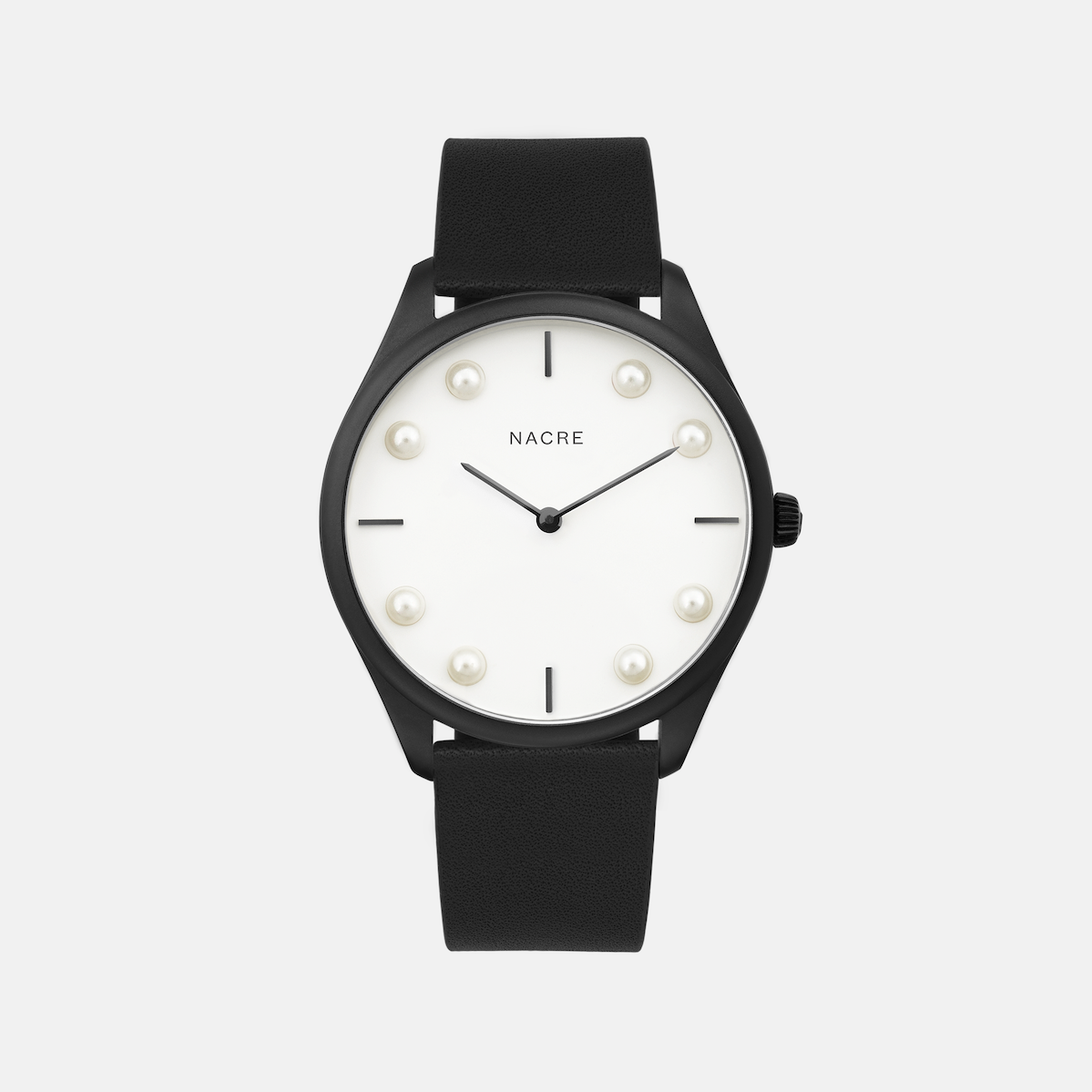 Lune 8 - Matte Black and White - Black Leather