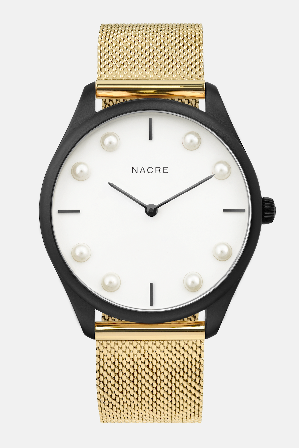 Lune 8 - Matte Black and White - Gold Mesh