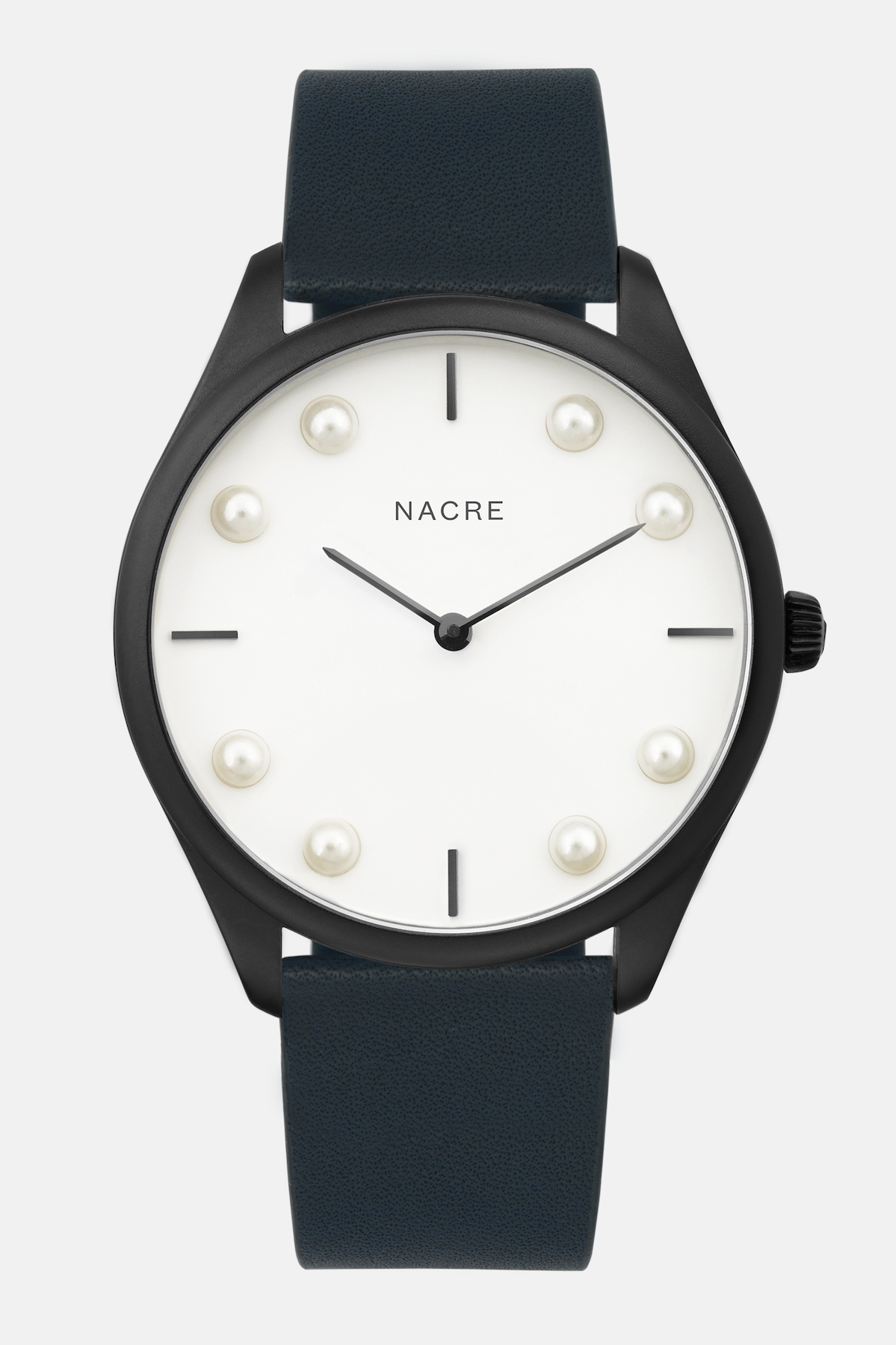 Lune 8 - Matte Black and White - Navy Leather