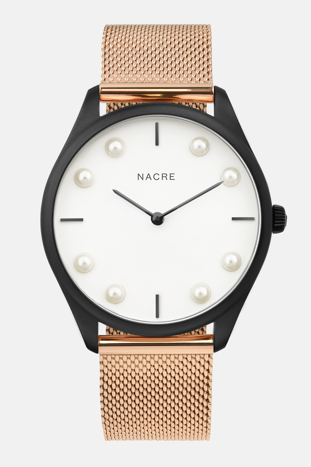 Lune 8 - Matte Black and White - Rose Gold Mesh