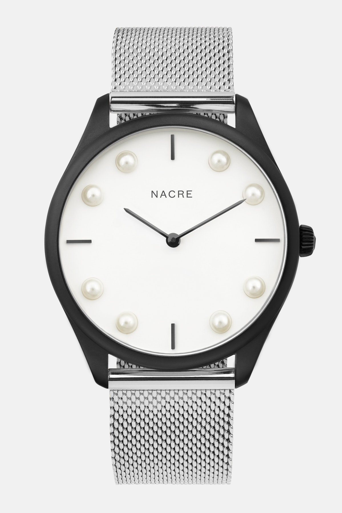 Lune 8 - Matte Black and White - Stainless Steel Mesh