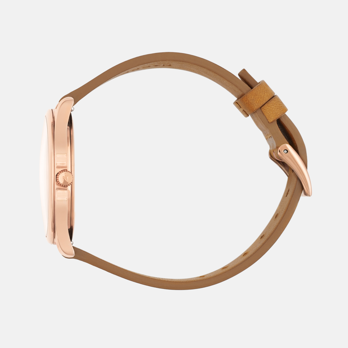 Lune 8 - Rose Gold and White - Natural Leather