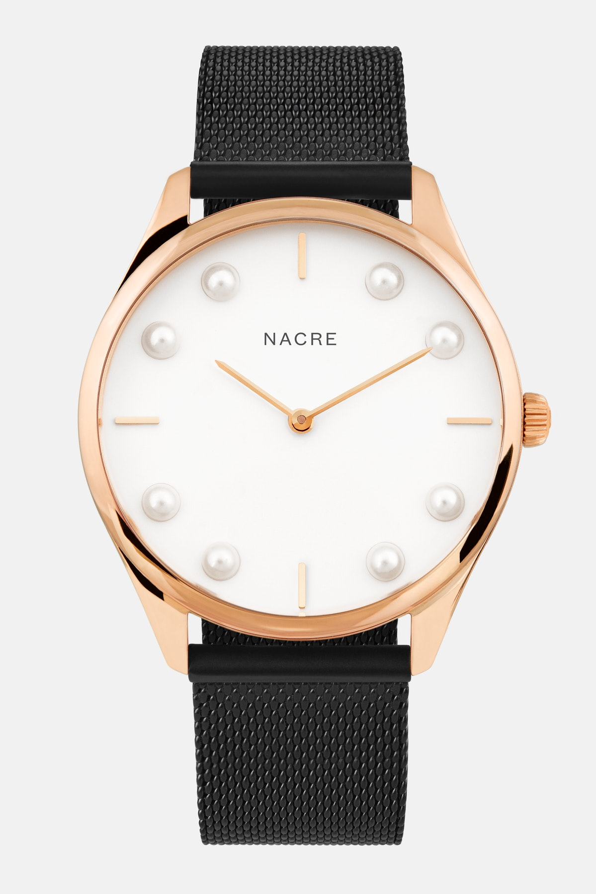 Lune 8 - Rose Gold and White - Matte Black Mesh