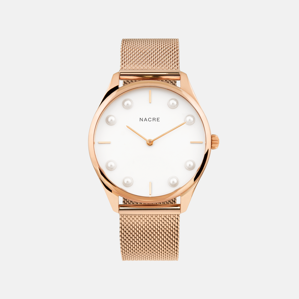 Lune 8 - Rose Gold and White - Rose Gold Mesh