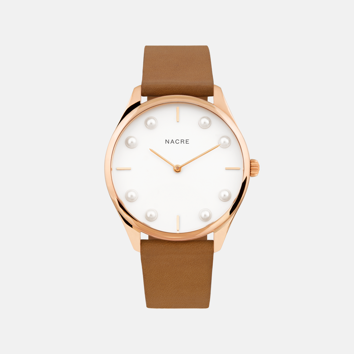 Lune 8 - Rose Gold and White - Black Leather