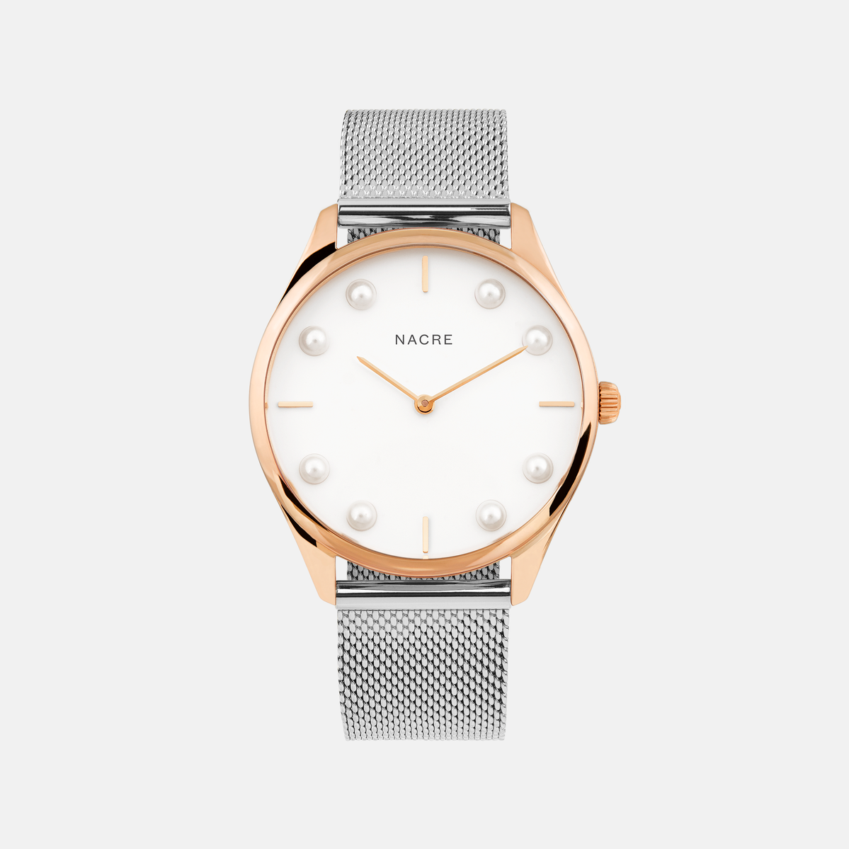 Lune 8 - Rose Gold and White - Saddle Leather