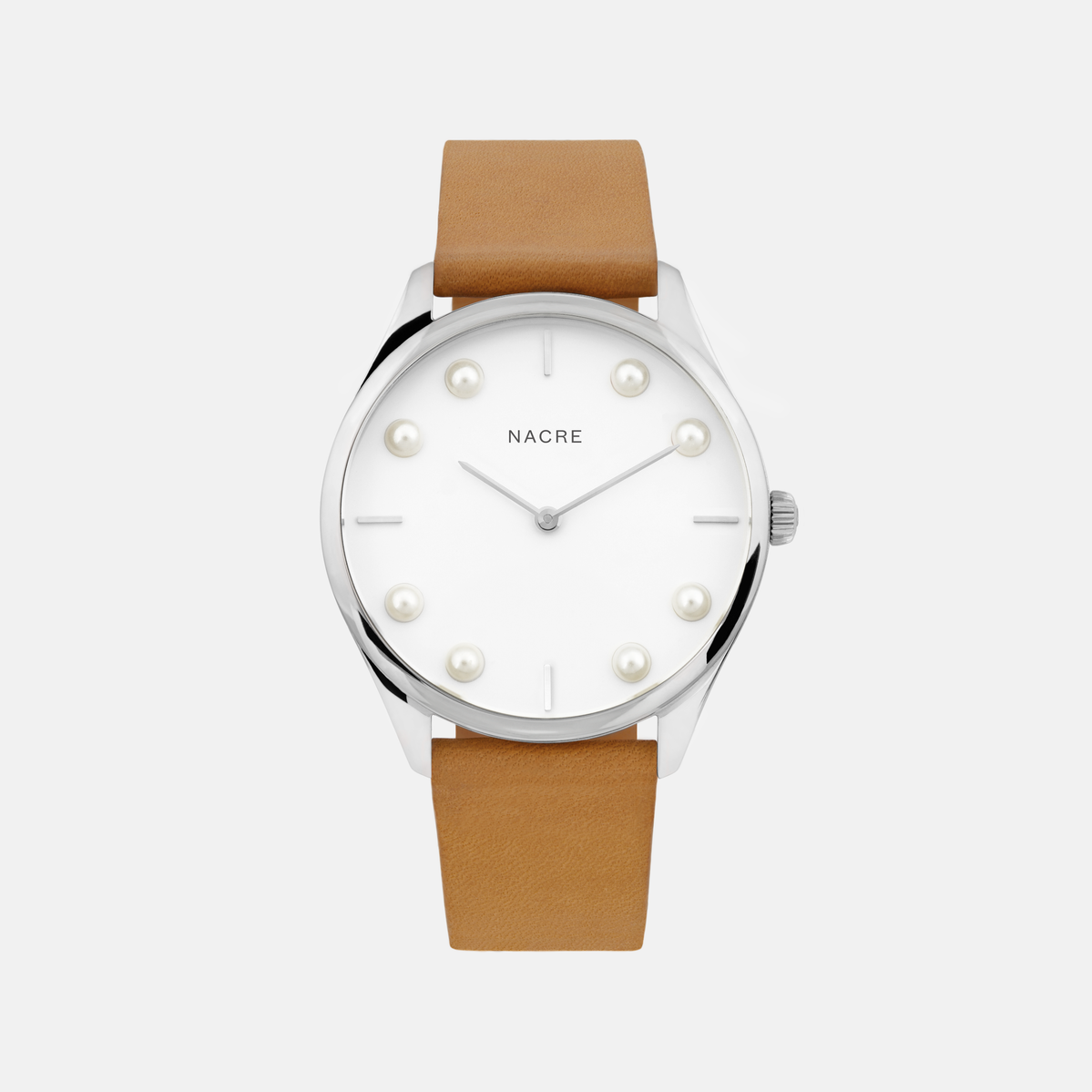 Lune 8 - Stainless Steel - Saddle Leather