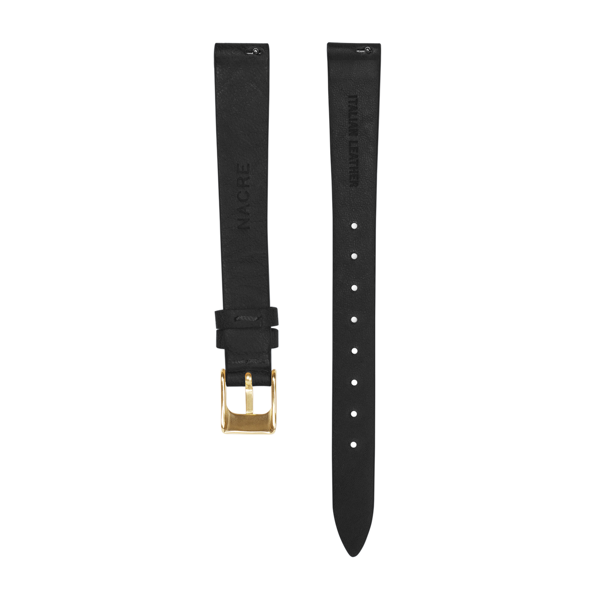 Strap - Italian Leather - Black Leather - Gold - 12mm