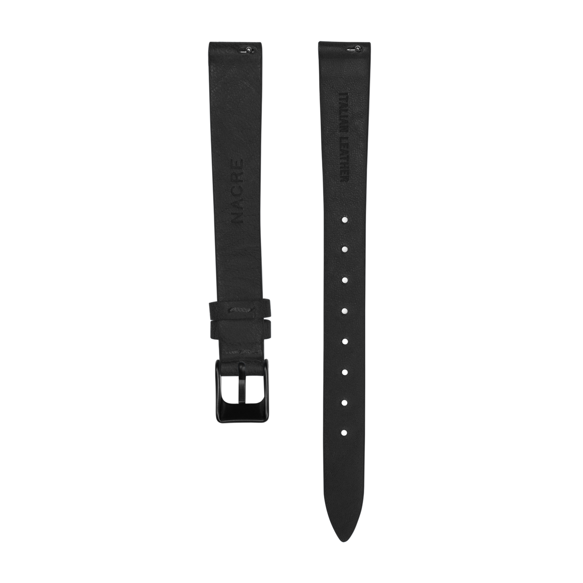 Strap - Italian Leather - Black Leather - Matte Black - 12mm