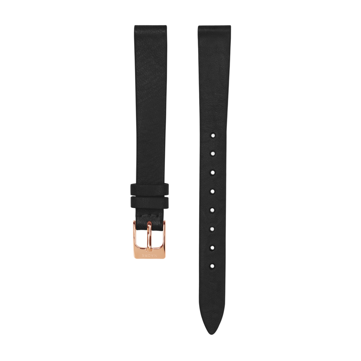 Strap - Italian Leather - Black Leather - Rose Gold - 12mm