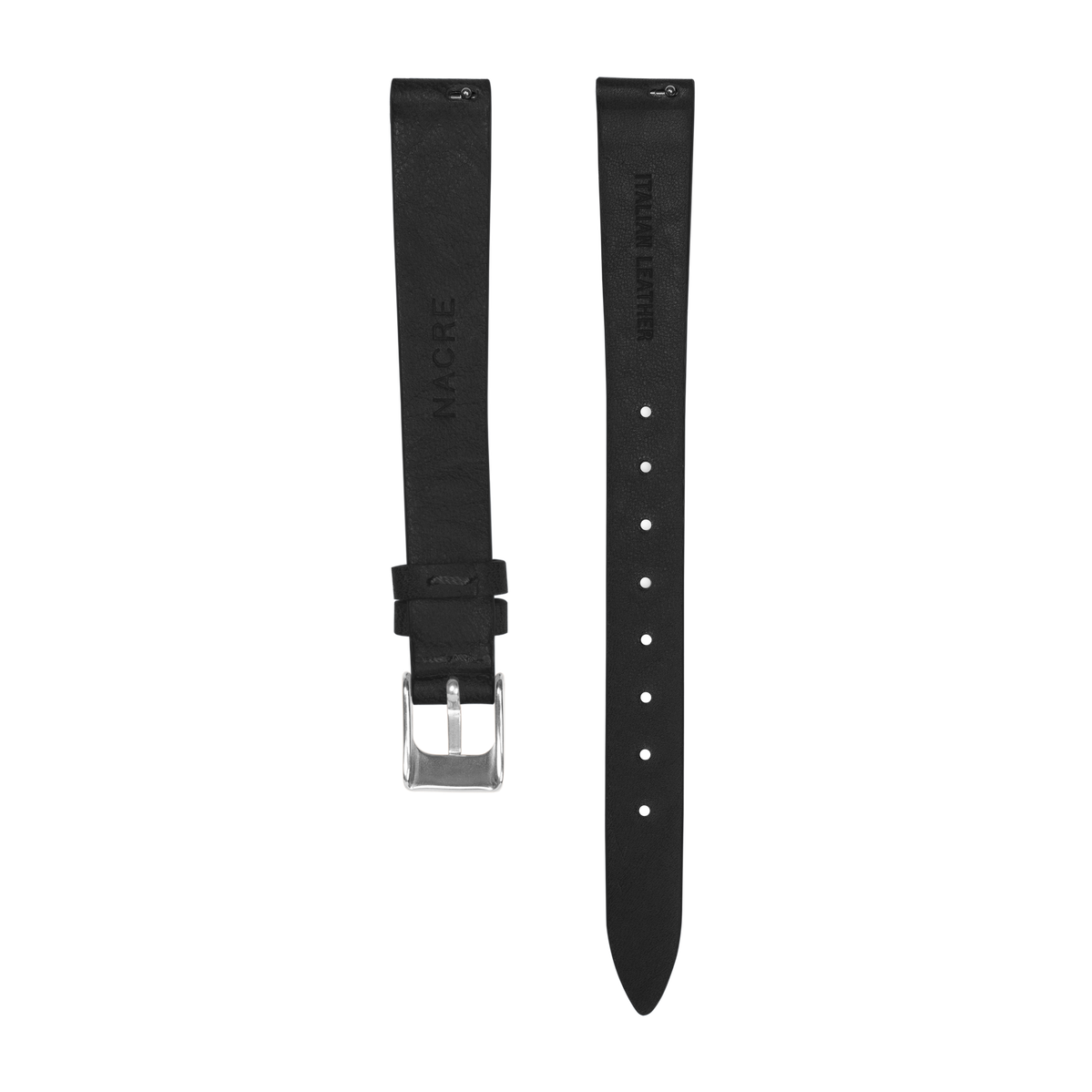 Strap - Italian Leather - Black Leather - Stainless Steel - 12mm