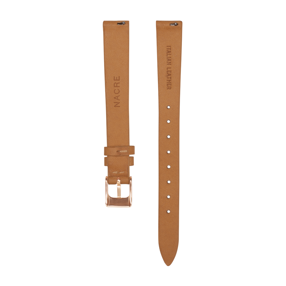 Strap - Italian Leather - Natural Leather - Rose Gold - 12mm