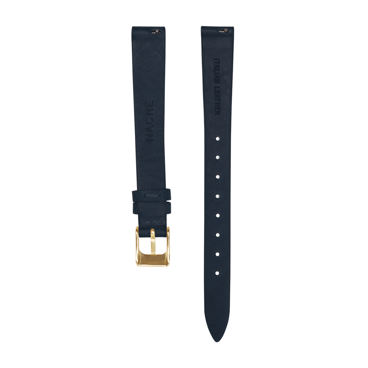 Strap - Italian Leather - Navy Leather - Gold - 12mm