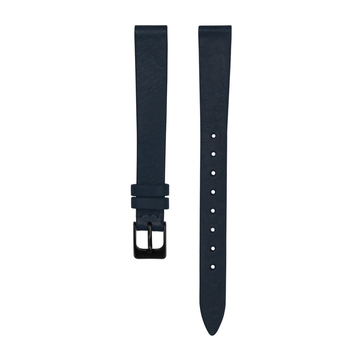 Strap - Italian Leather - Navy Leather - Matte Black - 12mm