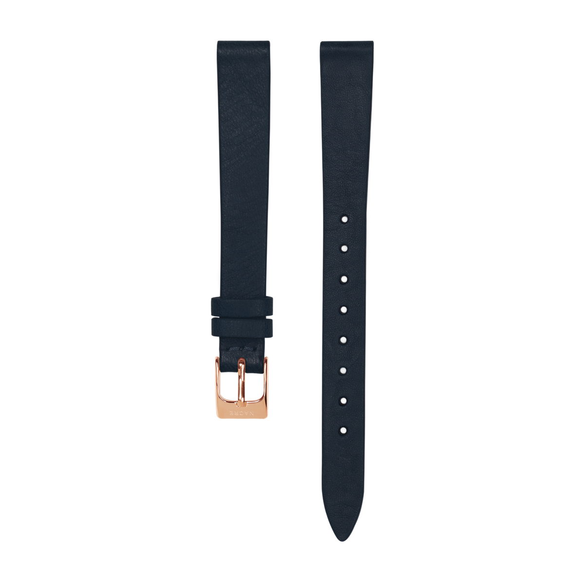 Strap - Italian Leather - Navy Leather - Rose Gold - 12mm