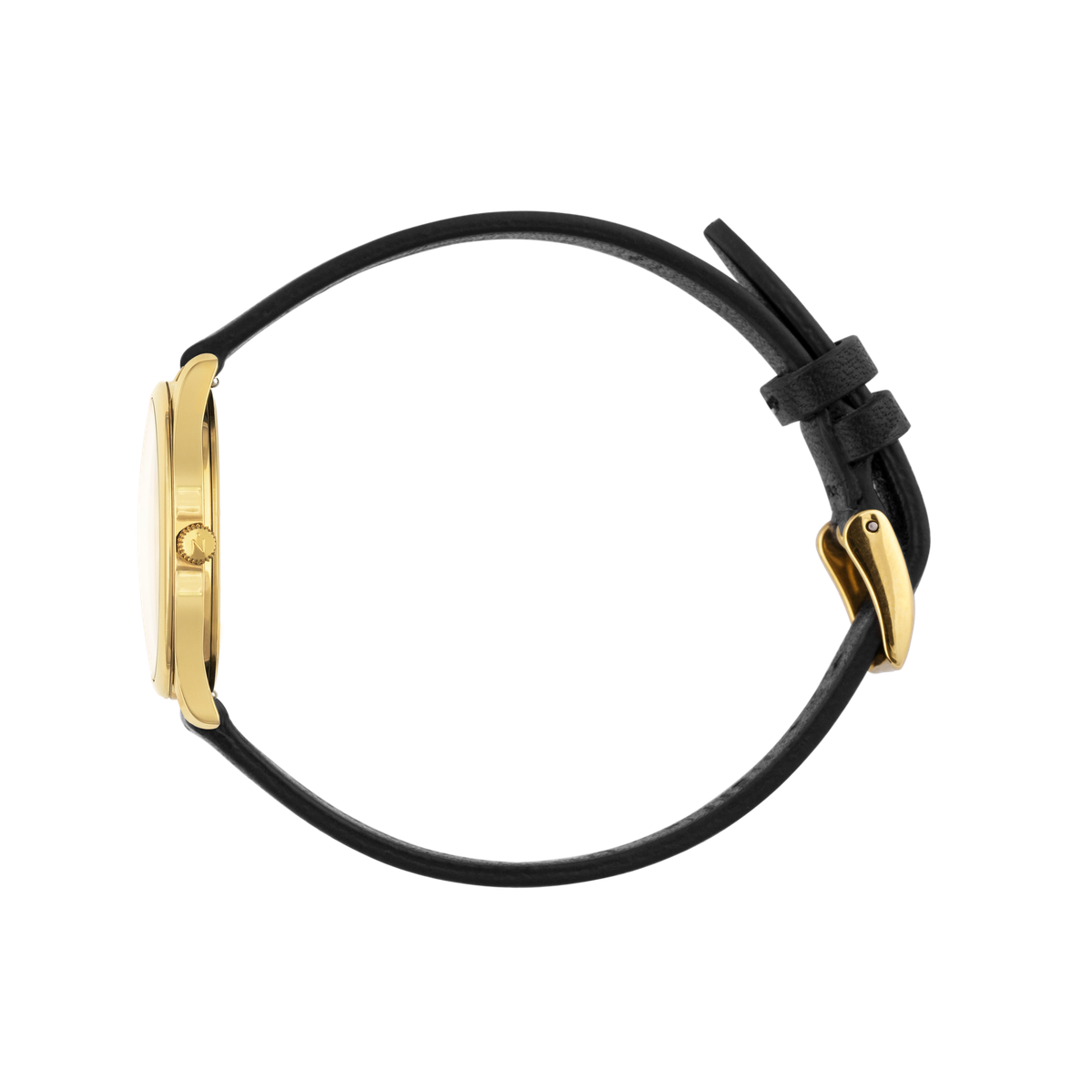 Mini Lune - Gold - Black Leather