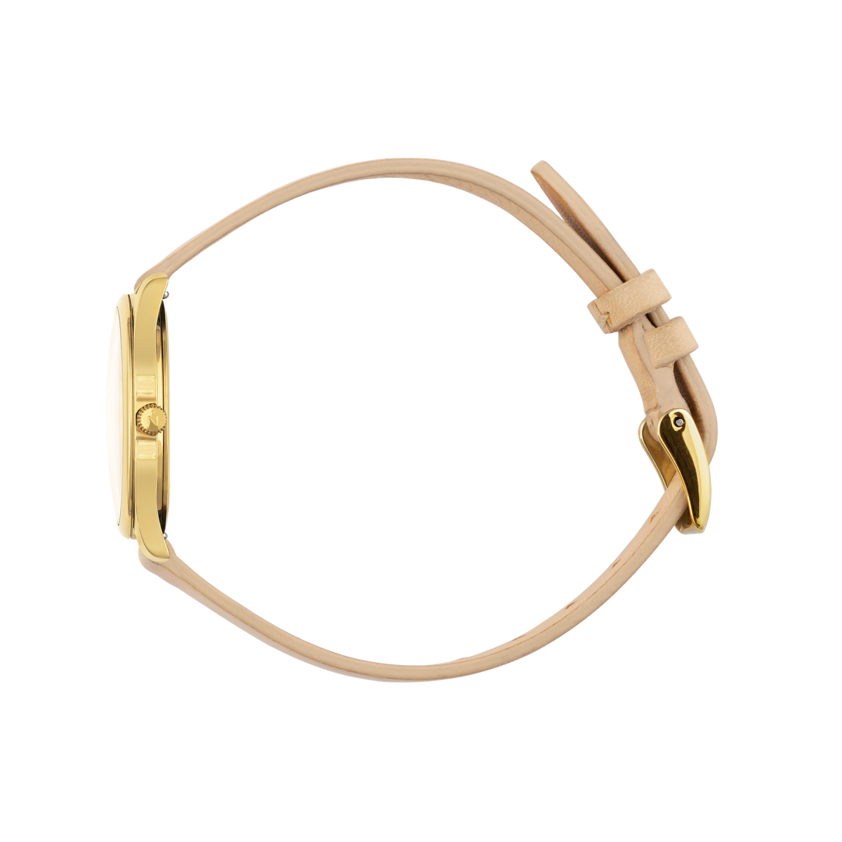 Mini Lune - Gold - Sand Leather