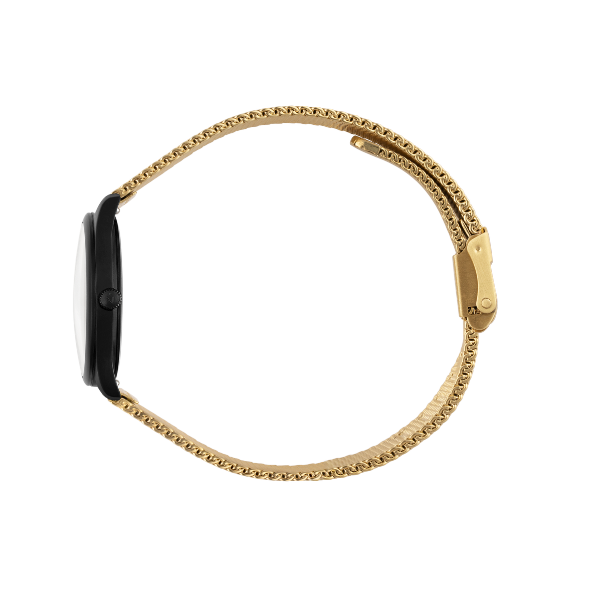 Mini Lune - Matte Black - Gold Mesh
