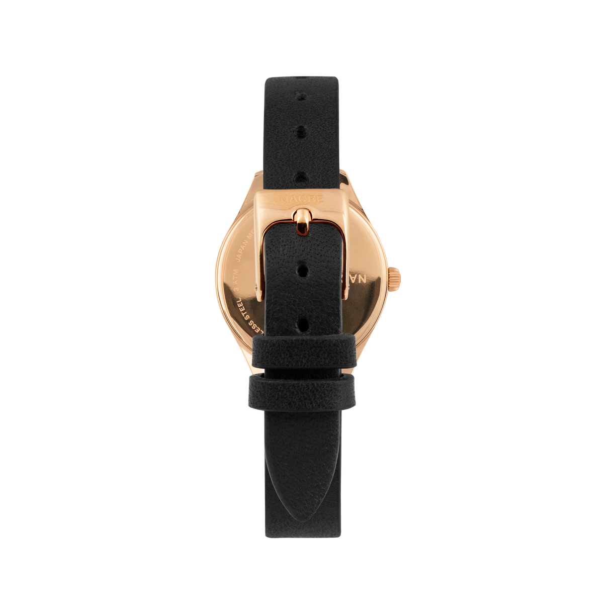Mini Lune - Rose Gold - Black Leather