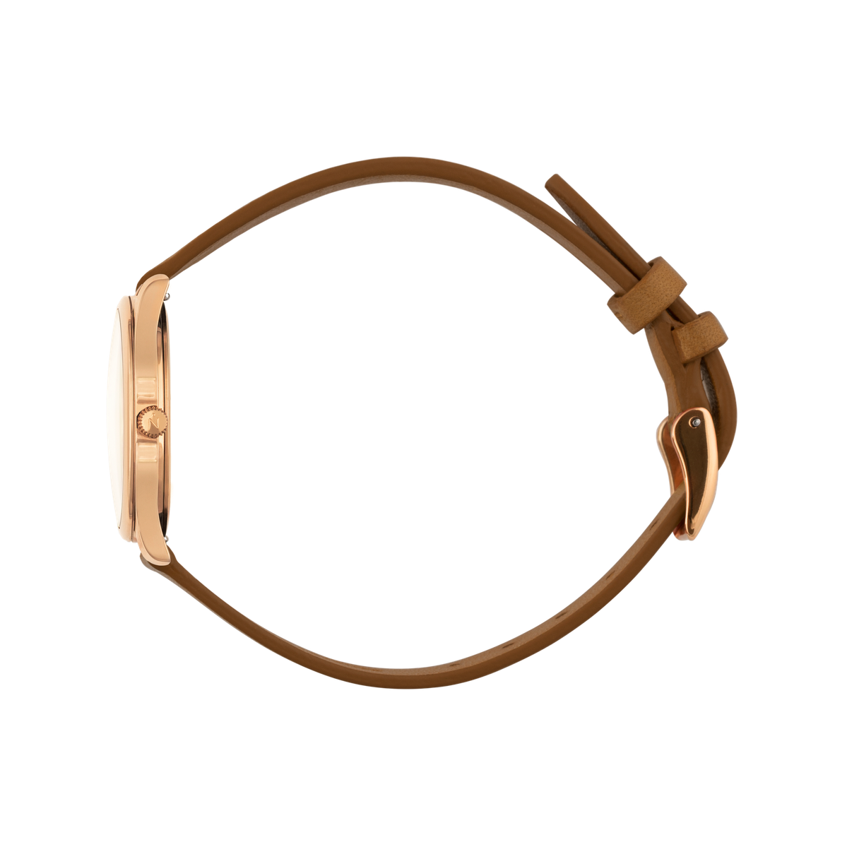 Mini Lune - Rose Gold - Saddle Leather