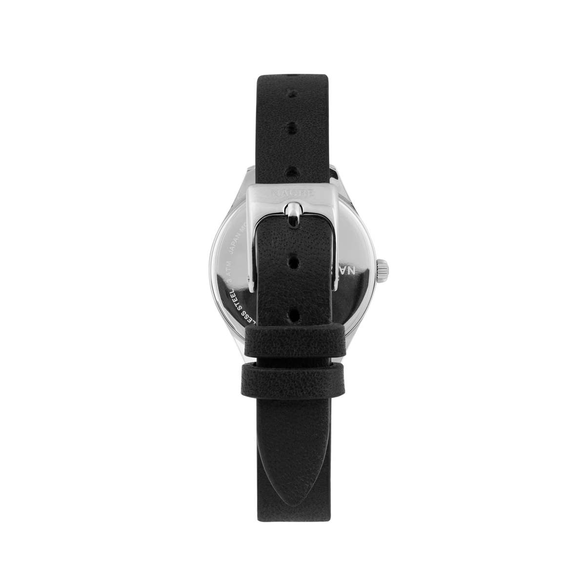 Mini Lune - Stainless Steel - Black Leather