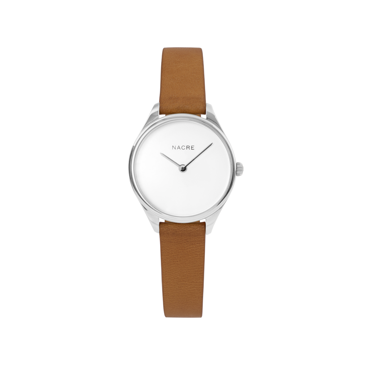 Mini Lune - Stainless Steel - Natural Leather