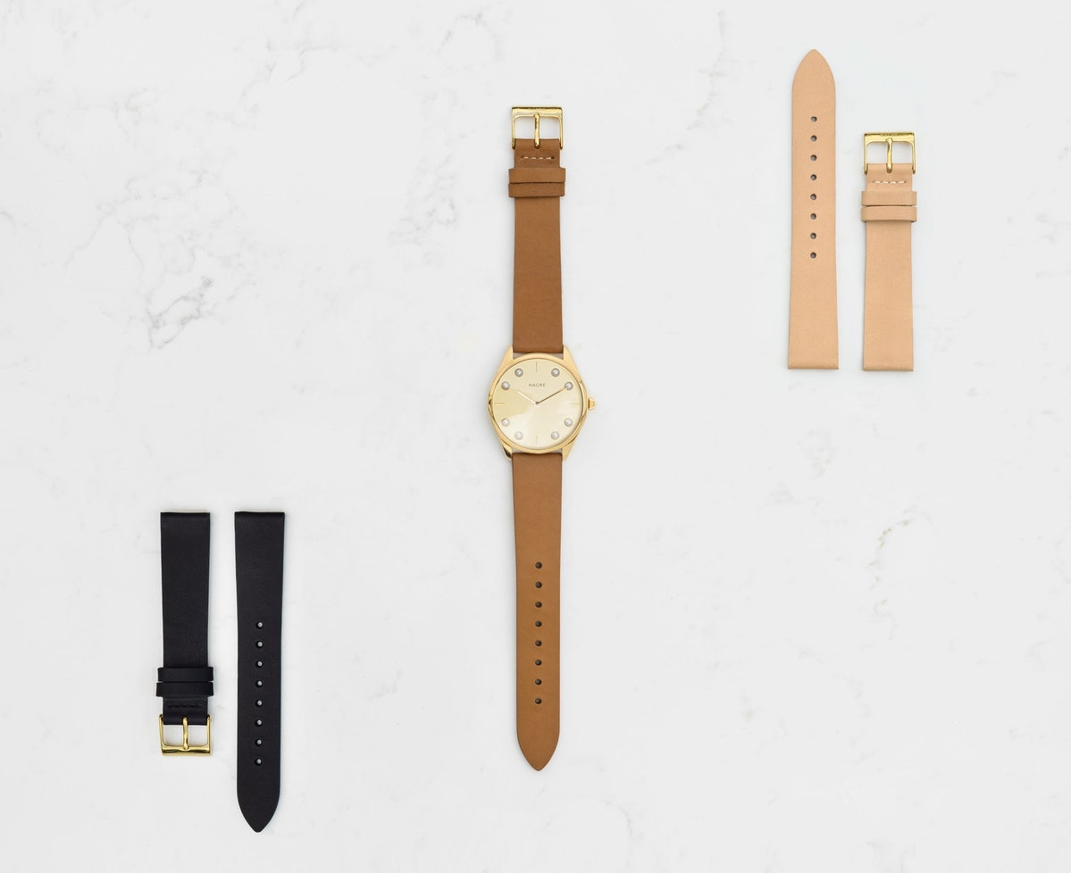 Lune 8 - Gold and White - Sand Leather