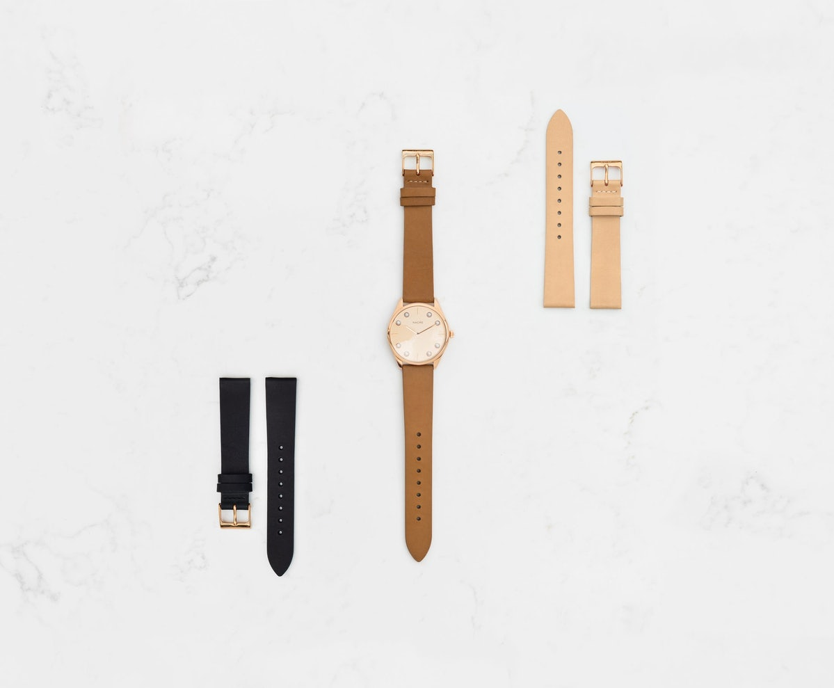 Lune 8 - Rose Gold and White - Navy Leather